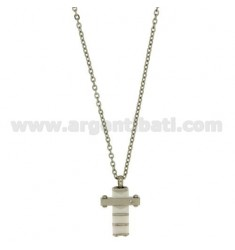 CROSS PENDANT 20X15 MM STEEL AND WHITE CERAMIC ZIRCON WITH CHAIN CABLE CM 45.50