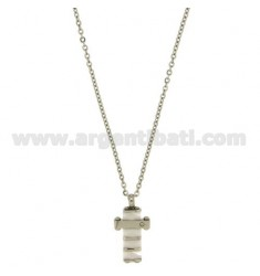 CROSS PENDANT MM20X13 STEEL AND WHITE CERAMIC ZIRCON WITH CHAIN CABLE 50 CM