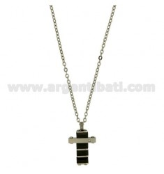 CROSS PENDANT 20X15 MM STEEL AND BLACK CERAMIC ZIRCON WITH CHAIN CABLE CM 45.50