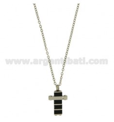 CROSS PENDANT 20X15 MM STEEL AND CERAMIC BLUE ZIRCON WITH CHAIN CABLE CM 45.50