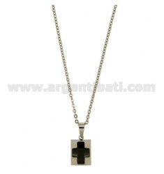 CROSS PENDANT 13x11 MM STEEL AND BLACK CERAMIC WITH CHAIN CABLE 50 CM