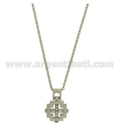 CROSS PENDANT MM21X20 STEEL AND CERAMIC WHITE CHAIN CABLE 50 CM
