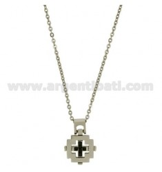 CROSS PENDANT MM21X20 STEEL AND BLACK CERAMIC WITH CHAIN CABLE 50 CM