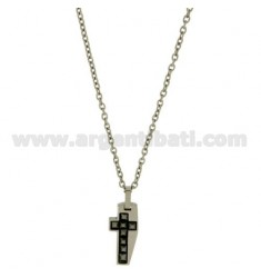CROSS PENDANT MM22X11 STEEL AND INSERTS BLACK CERAMIC WITH CHAIN CABLE 50 CM