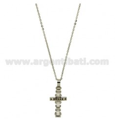 CROSS PENDANT STEEL AND WHITE CERAMIC ZIRCONIA BLACKS WITH CHAIN CABLE 50 CM