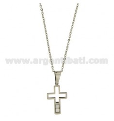 CROSS PENDANT MM22X16 STEEL AND CERAMIC WHITE CHAIN CABLE 50 CM
