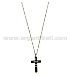 CROSS PENDANT MM24X12 STEEL PLATED RUTHENIUM AND ZIRCONIA WITH CHAIN CABLE 50 CM