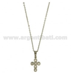 CROSS PENDANT 21x13 MM STEEL AND ZIRCONIA WITH CHAIN CABLE 50 CM