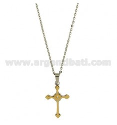 CROSS PENDANT MM30X20 STEEL INSERTS ROLLED GOLD CHAIN CABLE 50 CM
