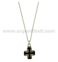 PENDANT CROSS MILITARY MM20X18 STEEL INSERTS AND ROLLED RUTENIO ZIRCONS, CHAIN CABLE 50 CM