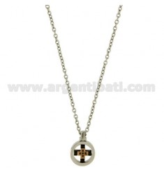CROSS PENDANT MM20X14 STEEL AND INSERTS PLATED ROSE GOLD CHAIN CABLE 50 CM