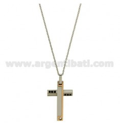 CROSS PENDANT MM30X20 STEEL PLATED INSERTS PINK GOLD AND ZIRCONIA WITH CHAIN CABLE 50 CM