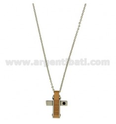 CROSS PENDANT MM22X17 STEEL PLATED INSERTS PINK GOLD AND ZIRCONIA WITH CHAIN CABLE 50 CM