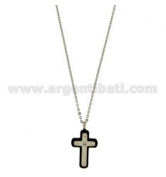 CROSS PENDANT MM23X15 STEEL AND ZIRCONIA WITH CHAIN CABLE 50 CM