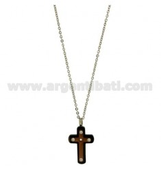 CROSS PENDANT MM23X15 STEEL PLATED INSERTS PINK GOLD AND ZIRCONIA WITH CHAIN CABLE 50 CM