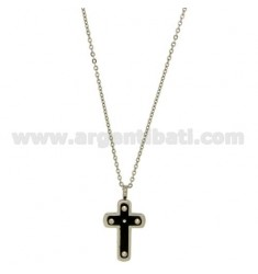 CROSS PENDANT MM23X15 STEEL INSERTS AND ROLLED RUTENIO ZIRCONS CHAIN CABLE 50 CM