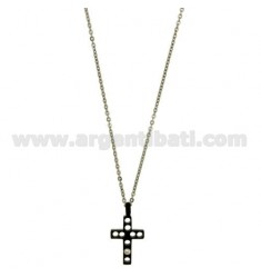 CROSS PENDANT MM17X13 STEEL PLATED RUTENIO And ZIRCONE WHITE CHAIN CABLE 50 CM