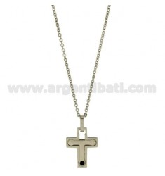CROSS PENDANT MM24X18 STEEL AND BLACK ZIRCONE, CABLE WITH CHAIN 50 CM