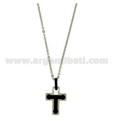 CROSS PENDANT MM24X18 STEEL INSERTS AND ROLLED RUTENIO ZIRCONE BLACK WITH CHAIN CABLE 50 CM