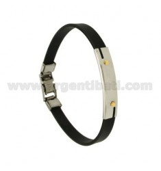 BLACK RUBBER BRACELET WITH PERFORATED PLATE EXTERNAL STEEL SEGMENTS WITH BILAMINE BRASS AND GOLD SCREWS