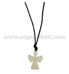 CHARM ANGEL MM 26x18 STEEL WITH POINT Bilamina BRASS AND GOLD WITH LACE SILK CERATA