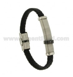 BRACELET WOVEN LEATHER 10 MM WITH PLATE AND INSERTS AND ROLLED RUTENIO ZIRCONE WITH CLOSING IN STEEL