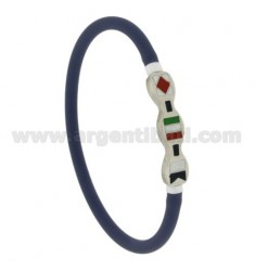 LILAC RUBBER BRACELET EMPTY 5 MM WITH CENTRAL STEEL WITH 3 ENAMELED FLAGS