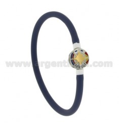 BRACELET RUBBER &39LILAC VACUUM TUBE WITH 5 MM CENTRAL STEEL WITH WIND ROSE ROUND GLAZED