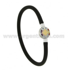 BRACELET RUBBER &39BLACK VACUUM TUBE WITH 5 MM CENTRAL STEEL WITH WIND ROSE ROUND GLAZED