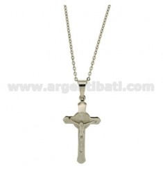 PENDANT CROSS RELIEF MM 37X21 STEEL CABLE WITH CHAIN 50 CM
