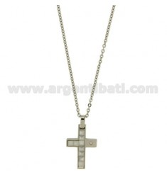 CROSS PENDANT MM24X17 STEEL AND WHITE CERAMIC ZIRCON WITH CHAIN CABLE CM 45.50