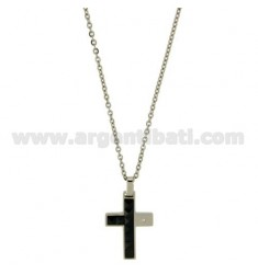 CROSS PENDANT MM24X17 STEEL AND BLACK CERAMIC ZIRCON WITH CHAIN CABLE CM 45.50
