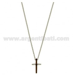 CROSS PENDANT MM20X12 STEEL PLATED COPPER AND ZIRCONE CHAIN CABLE 50 CM