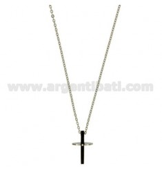 CROSS PENDANT MM20X12 STEEL PLATED RUTENIO And ZIRCONE CHAIN CABLE 50 CM