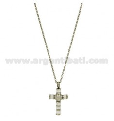 CROSS PENDANT TUBOLAREMM 24X16 STEEL AND CERAMIC WHITE CHAIN CABLE 50 CM