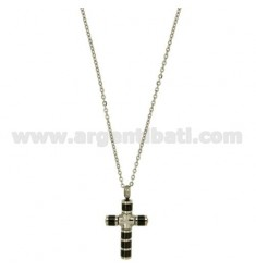 CROSS PENDANT TUBOLAREMM 24X16 STEEL AND BLACK CERAMIC WITH CHAIN CABLE 50 CM