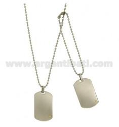 DOUBLE Medaille Militär STEEL MM 40x24 MIT INSERT Bilamina BRASS UND GOLD MIT KETTE BALL 2,5 MM 60 CM