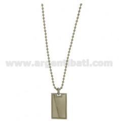 Medalla militar espejo de acero 34X21 MM CON BOLAS DE CADENA MM 3 CM 60