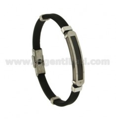 BLACK RUBBER BRACELET 8 MM PLATE IN STEEL WITH RUTHENIUM PLATED ELEMENTS