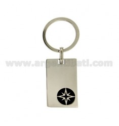 KEY RING PLATE AND STEEL POLISH WITH WIND ROSE