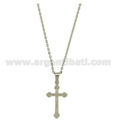 CROSS PENDANT STEEL 31X16 MM WITH CHAIN CABLE 50 CM