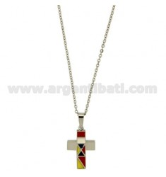 CROSS PENDANT STEEL MM 25x16 INSERTS AND GLAZED FLAGS WITH CHAIN CABLE 50 CM