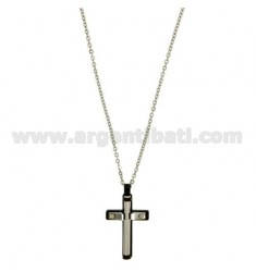CROSS PENDANT STEEL 27X16 MM AND INSERTS CLAD RUTHENIUM CHAIN CABLE 50 CM