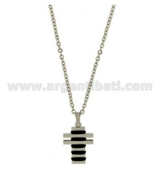 CROSS PENDANT STEEL 28X17 MM AND INSERTS CLAD RUTHENIUM CHAIN CABLE 50 CM