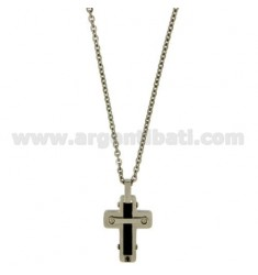 CROSS PENDANT STEEL TWO TONE PLATED RUTENIO MM 31X18 CHAIN CABLE 50 CM