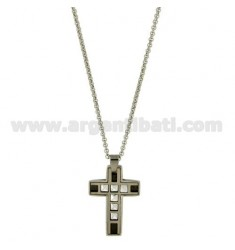 CROSS PENDANT IN STEEL 28X21 MM WITH RUTHENIUM PLATED INSERTS AND ROLO CHAIN 50 CM