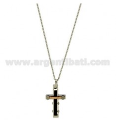 CROSS PENDANT STEEL AND GOLD TWO TONE PLATED RUTENIO ROSA MM 22x15 CHAIN CABLE 50 CM