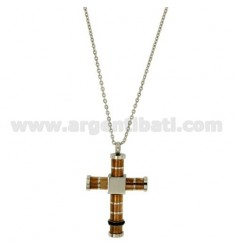 PENDANT CROSS TUBE STEEL TWO TONE GOLD PLATED PINK 32x24 MM WITH ZIRCONIA BLACKS AND CHAIN CABLE 50 CM