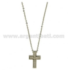 CROSS PENDANT STEEL 24X16 MM MIT CHAIN CABLE 50 CM