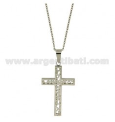 CROSS PENDANT STEEL 42X27 MM MIT CHAIN CABLE 50 CM
